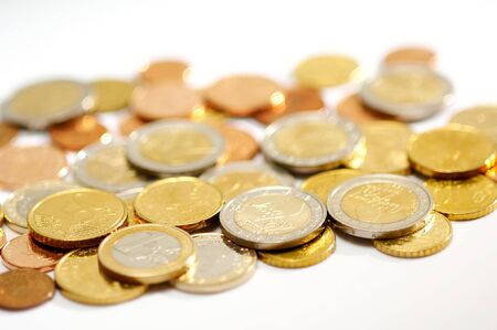 Group of euro coins