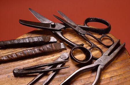 Group of old shoemakers tools                              Stock Photo