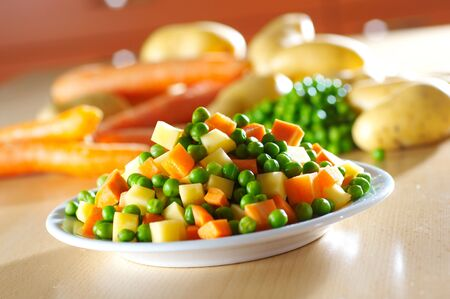 Different vegetables for French salad Stock Photo