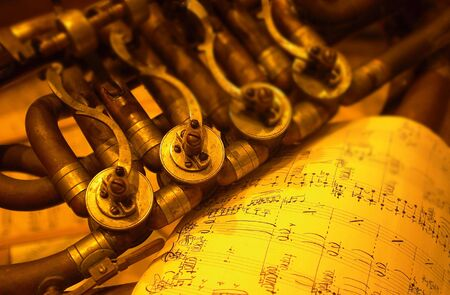 Detail of an old brass instrument                             Stock Photo