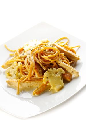 Soy spaghetti with boiled vegetables