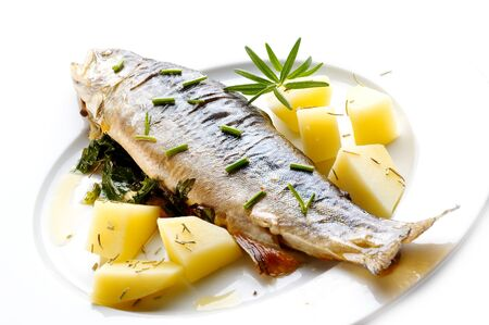 Trout with herbs Stock Photo
