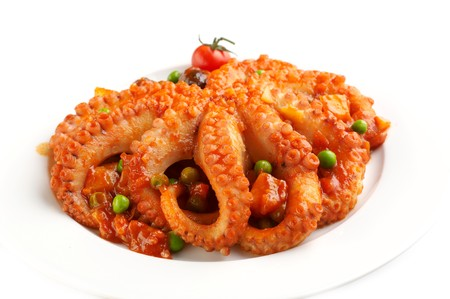 Food from Malta - octopus in vegetable dressing