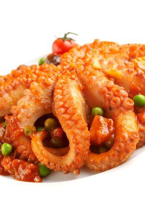 Food from Malta - octopus in vegetable dressing