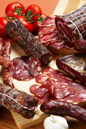 Different salami and meat product Stock Photo