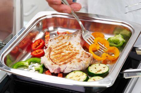Pork steak with vegetable Stock Photo