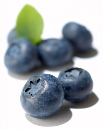 Group of blueberries isolated on white Stock Photo