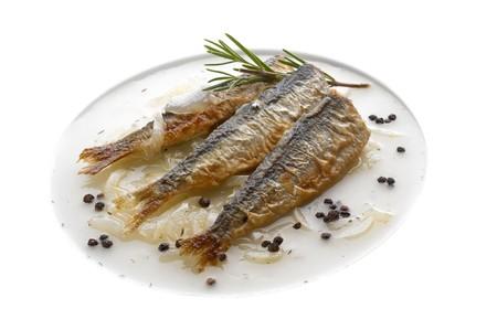 Baked sardines in onion sauce