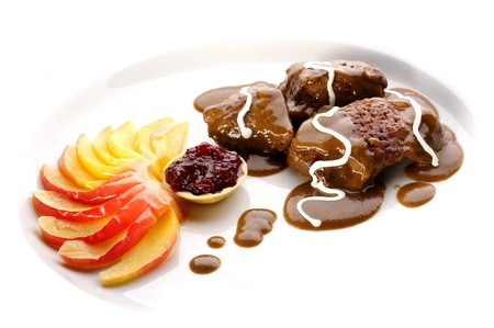 Deer steak with mushroom sauce and redcurrant