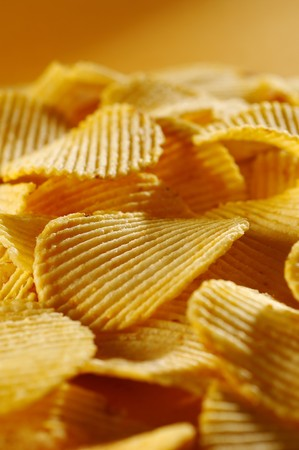 fryed: Detail of fried potato chips Stock Photo