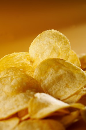 Detail of fried potato chips Stock Photo