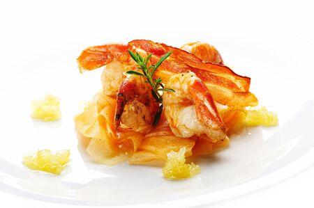 Boiled shrimps on orange water melon Stock Photo - 4065215