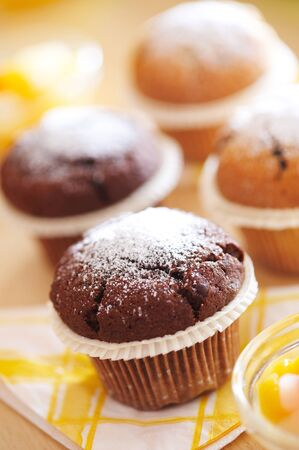 Fresh and home made chocolate muffins Stock Photo - 4065256
