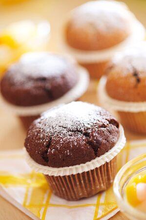 Fresh and home made chocolate muffins Stock Photo - 4065256