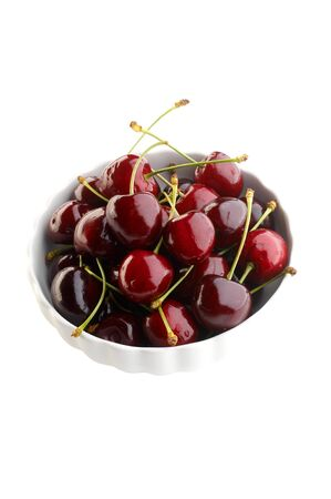 Fresh cherries in white bowl Stock Photo - 4065214