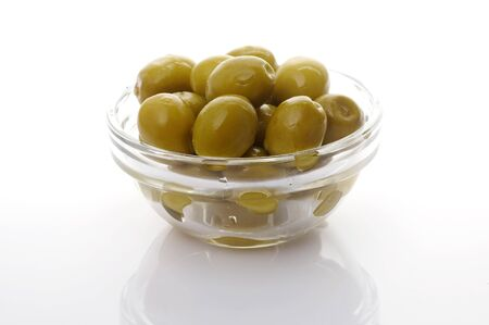 Green olives in glass bowl Stock Photo - 4065209