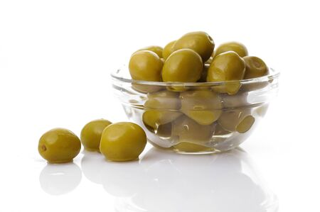 Green olives in glass bowl Stock Photo - 4065211