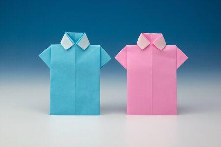 blue shirt: Japanese paper origami shirts