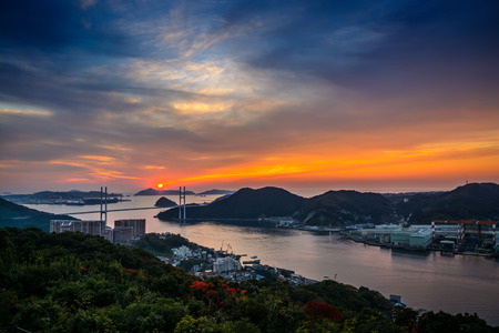 nagasaki: Nagasaki Bay Sunset Stock Photo