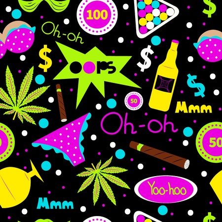 vices: Pop art fashion seamless pattern. Vector cannabis, cigar, alcohol bottle, underwear, chips. Mens leisure, holiday, hobby, vacation, summer party in hawaii. Design for textiles t-shirts