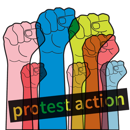 manifest: Vector flat symbol of protest. Hands clenched into fist and raised up. Concept of strikes and demonstrations. Protesting aggressive crowd.