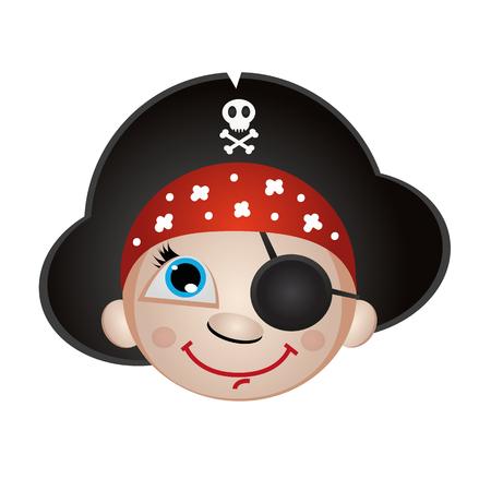 calavera caricatura: icono, smiley, emoji muchacho del pirata en el sombrero de tres picos sobre un fondo blanco aislado Vectores