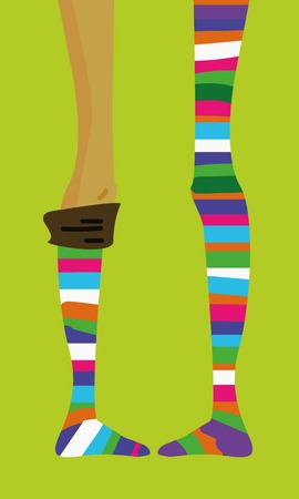 knee sock: long thin teenage girls legs in striped socks, stocking, vector hand-drawn picture, funny cartoon on bright background