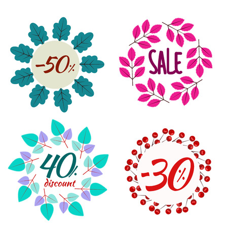 Autumn wreath sales, discount. Set of vector frames isolated. Design elements from leaves. Banners for autumn holidays.