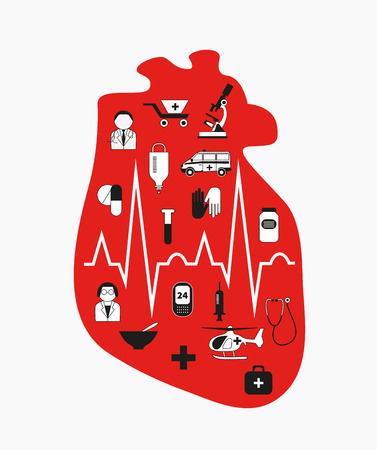 Heart failure. Anatomical red heart with medical icons. A heart attack medical care. Vector design element, the concept of intensive care, ambulance, isolated on white background.