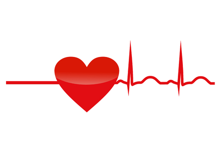 Resuscitation, red heart with cardiogram. Vector icon, symbol, concept of new life