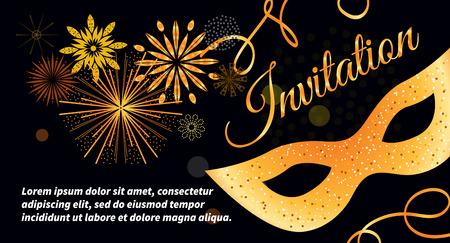 Negro vector de la tarjeta de invitación festivo con máscara de oro, bokeh, fuegos artificiales, serpentinas. Plantilla para folletos, carteles, tarjetas de Navidad