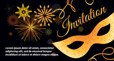 Black vector festive invitation card with gold mask, bokeh, fireworks, streamers. Template for flyers, banners, Christmas cards