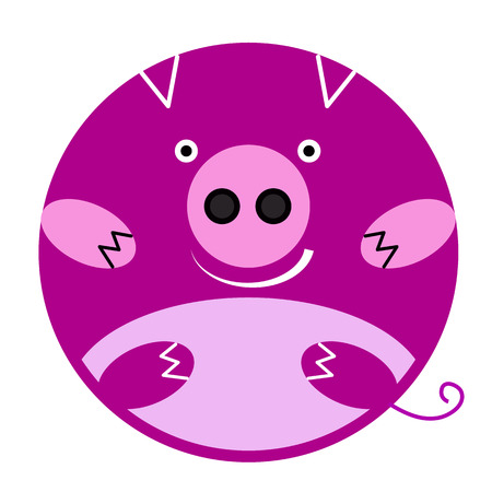 Vector round pink smiling pig Emoji. Element design cartoon character Illustration
