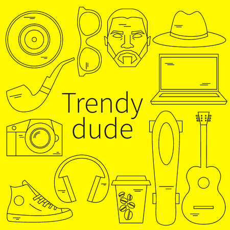 cool dude: Trendy dude, hipster. Vector flat linear set icons. Mens modern fashion. Skateboard, photo camera, coffee, beard, moustache, guitar, coffee, pipe, cool guy with beard and mustache Urban lifestyle