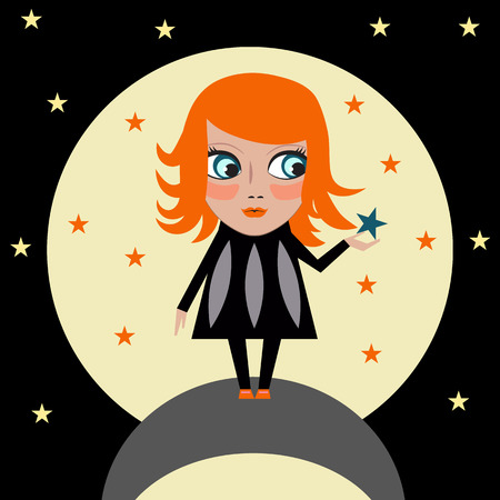 night vision: Big dream comes true. Girl keep star in hands on background of moon at night.