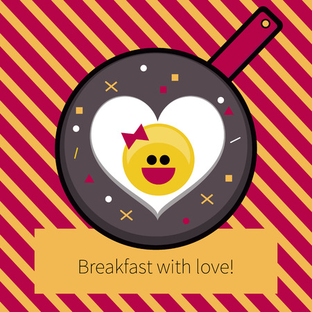 Fried egg heart on Valentines day. Vector flat scrambled  eggs smiling.