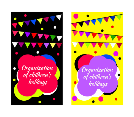 gritting: Childrens party business card. Vector cute bright set with flags and confetti. Festive template for banner, flyer, gritting card. Funny cover holiday booklet, leaflet, brochure for kid, baby. Illustration
