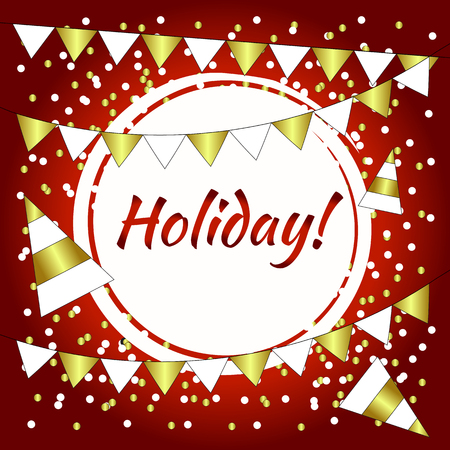 Party background red and gold baner with flags. Holiday frame.
