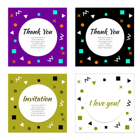 gritting: Set of frames with geometric pattern in style of 80-90 years. Vector fashion design elements for flyers, gritting cards, banners, flyers, covers, brochures, booklets. Illustration