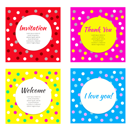 Invitation greeting cards vector set of frames banners postcards cards for kids party vector set of bright cards with confetti for birthday anniversary filmwisefo Image collections