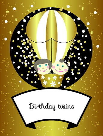 Twins birthday. Vector shining gold greeting card, invitation. Little smiling girl and boy fly in balloon. Childrens party, baby shower. Cartoon poster, postcard, brochure cover. Illustration