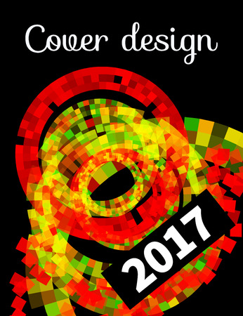 broshure: Mosaic abstract black background with concentric circles. Cover design booklet, broshure, flyers, leaflets, posters, leaflet, template, book. Modern geometric design element Illustration