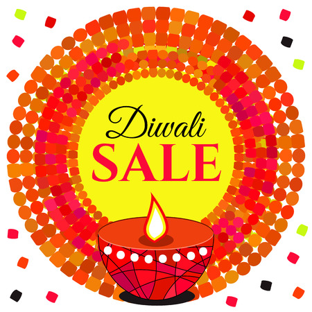 red oil lamp: Sale Diwali. Vector red bright round frame, banner, sticker, poster, label discounts, offer with lamp, oil and flames, isolated on white.