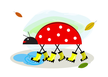 Rubber boots. Wellington, rain boots for baby. Funny cartoon character ladybug goes through puddles in rubber boots and smiles. Stick animal. Logo, Icon for childrens shoe shops. Illustration