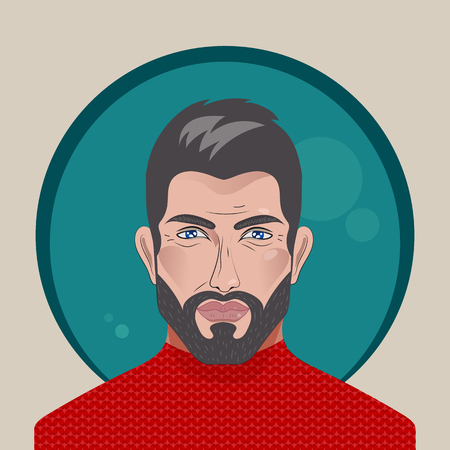 Avatar. Handsome man. Vector bearded brunette. Attractive brutal man in red sweater. Sexy male face with beard, metrosexual. Beautiful people.