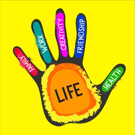 Targets of life. Vector hand lettering on fingers - work, family, friendship, health, creativity, life. Concept of life balance, choice harmony