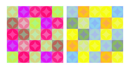 Seamless pattern with circles and squares. Vector bright abstractly trendy background.