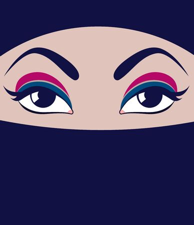 Face in burqa. Vector Muslim woman. Beautiful female eyes with makeup.