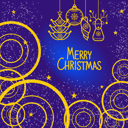 holiday invitation: Christmas invitation. Vector blue and gold holiday illustration Illustration