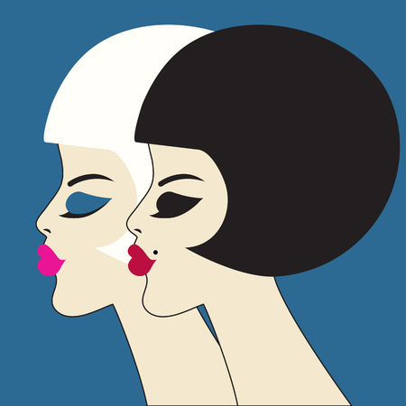 Vector beauty. Two graceful women's profiles. Bob haircut, makeup. Beautiful faces of girls in retro styleul